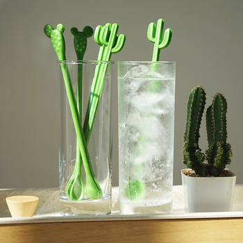 6 unids/set cucharas de café con mango largo cariño remover cuchara creativo Cactus de té de plástico Spork el helado de postre cucharas vajilla