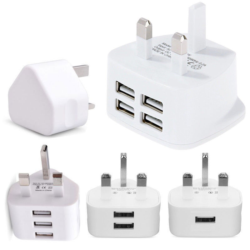 UK Plug Single USB Double USB 3USB Adapter Mains 3 Pin Plug USB Adaptor Wall Charger Travel Charging Cable 5V2 1A For Apple