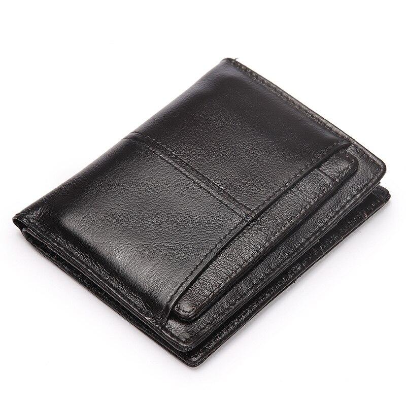 Portefeuille à double pli en cire d'huile pour homme, petite pochette, porte-monnaie, pochette pour carte d'identité, porte-cartes de crédit, court