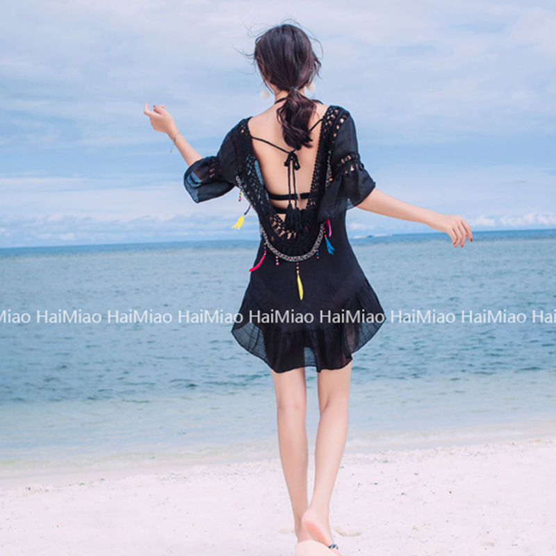 Black And White With Pattern Beach Cover-up Hollow Out Knit New Style Bikini Bathing Suit Outdoor Trend Korean Style Sun-resista