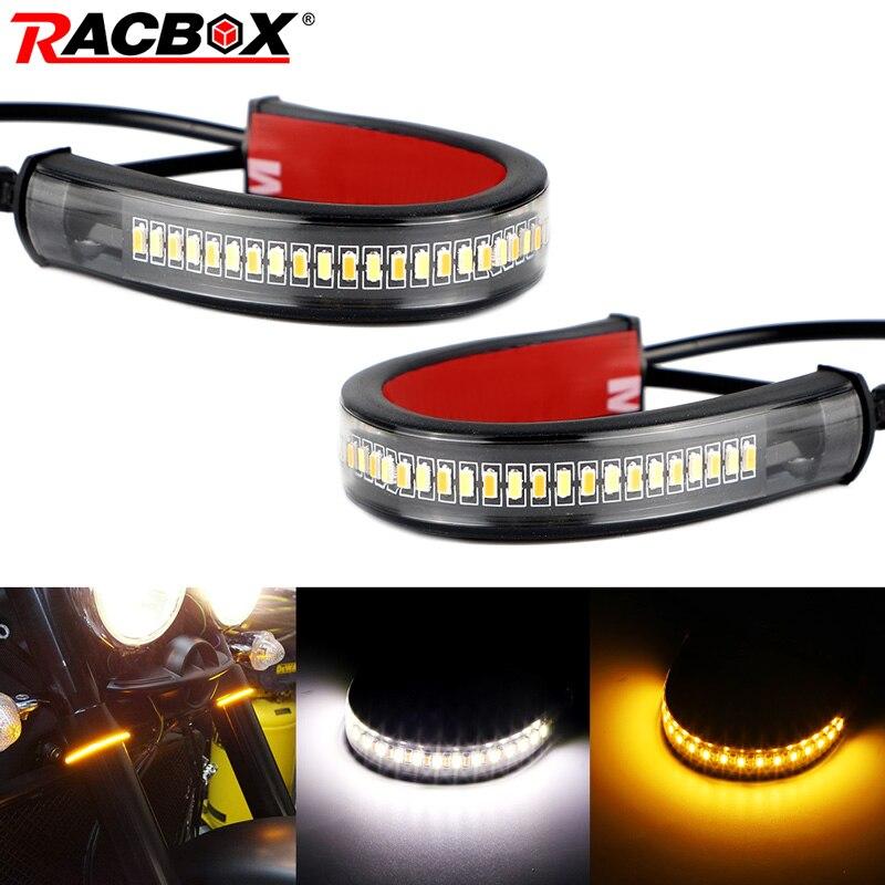 Motorcycle LED Fork Turn Signal Amber white Switchback Daytime DRL Light Strips