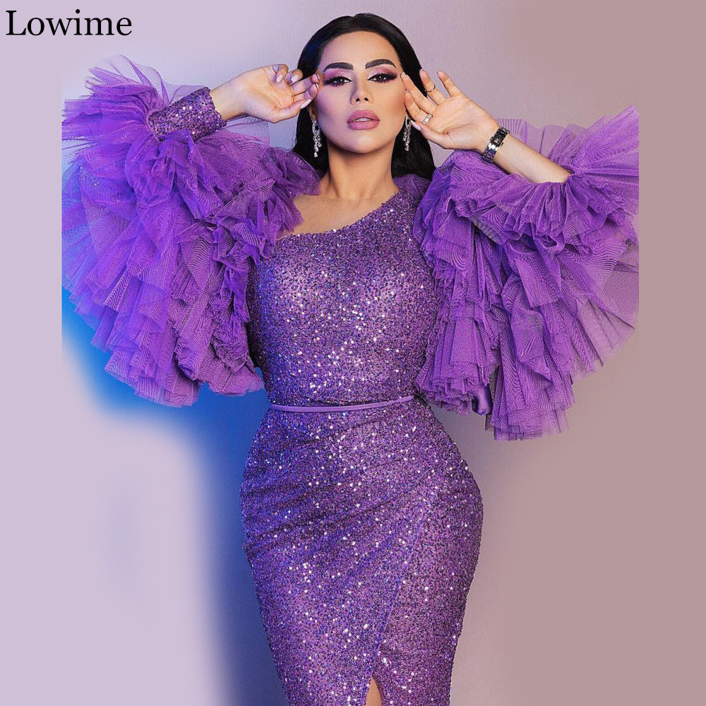 High Fashion Middle East Glitter Prom Dress 2020 Long Mermaid Muslim One Shoulder Evening Dress Ankle Length Cocktail Party Gown