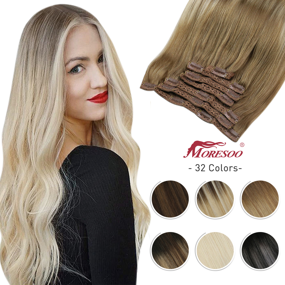 Hair-Extensions Human-Hair Clip-In Moresoo Straight Brazilian Weft 10-24inch-Machine