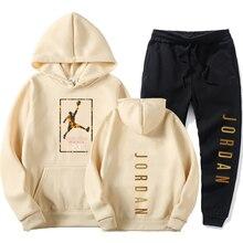 Conjunto de chándales de manga larga para hombre, jersey + Pantalones para trotar, ropa deportiva para correr, 2 uds., para invierno, 2020