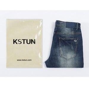 Image 5 - KSTUN Mens Jeans Classic Direct Stretch Dark Blue Business Casual Denim Pants Slim Straight Long Trousers Gentleman Cowboys 38