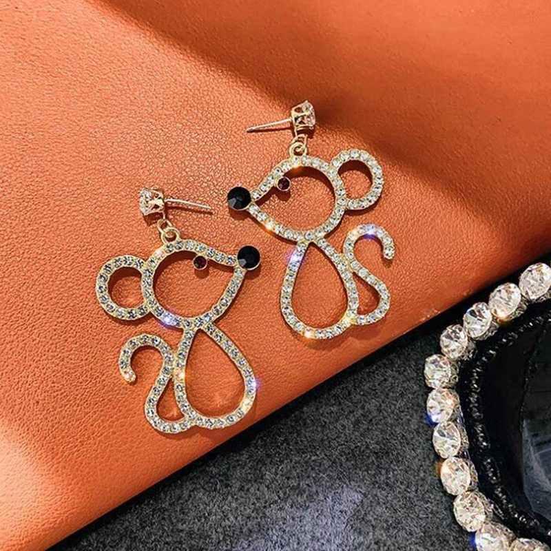 Śliczne mysz spadek kolczyki dla kobiet pełny kryształ górski dynda kolczyki Fashion Party biżuteria prezenty