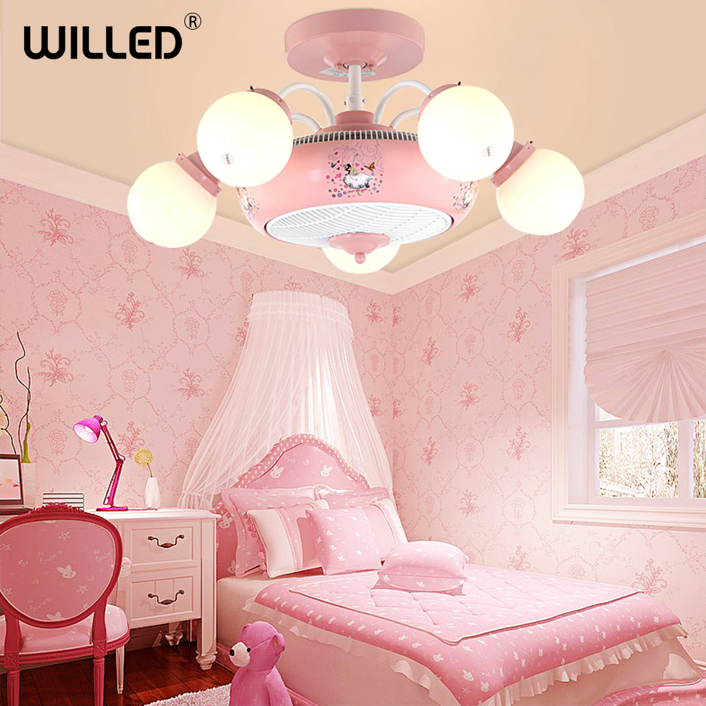 Ceiling Fan Lights For Kids Girls Boys Gift Cute Cartoon Pink Blue Lights Children Room Quiete Fans Bedroom Decorations Fixture Buy At The Price Of 392 94 In Aliexpress Com Imall Com