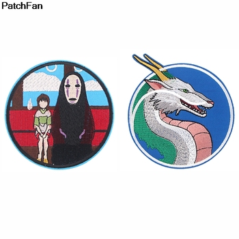 Patchfan Spirited Away movie cartoon Iron on patches clothing embroideried Patchwork accessories custom badges A2655