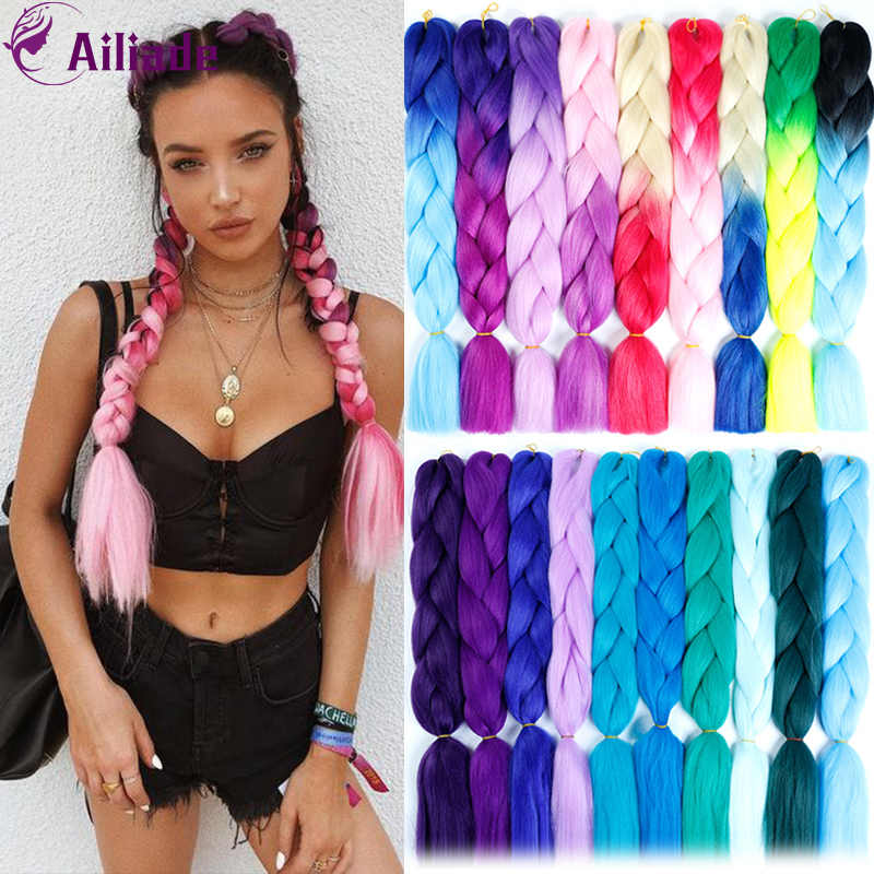 AILIADE 24 inches 100g/Pack Ombre Synthetic Heat Resistant Braiding Hair For Crochet Braids False Rainbow Fake Hair Extensions