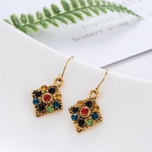 Ethnic Style, Wave, Colorful Diamond Earrings, Retro Diamond, Ladies Earrings Aretes De Mujer Modernos  Earings