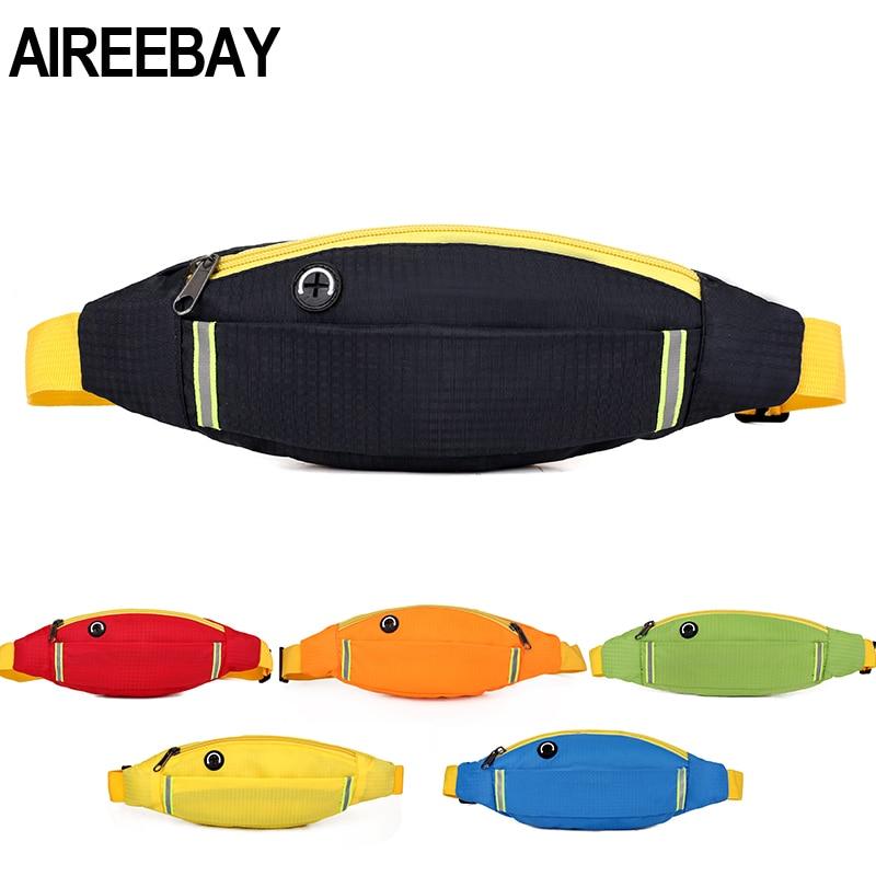 AIREEBAY Reflective Waist Running Bags Women Belts Bag Outdoor Sports Travel Fanny Pack Unisex Waist Packs Small Hip Phone Pouch