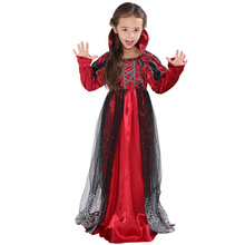 Fancy Vampire Costume Cosplay For Girls Halloween Costume For Kids Vampire Princess Dress Carnival Party Suit halloween costumes for girls princess dress kids vampire clothes cosplay bat set for party outfit boys costume children clothing