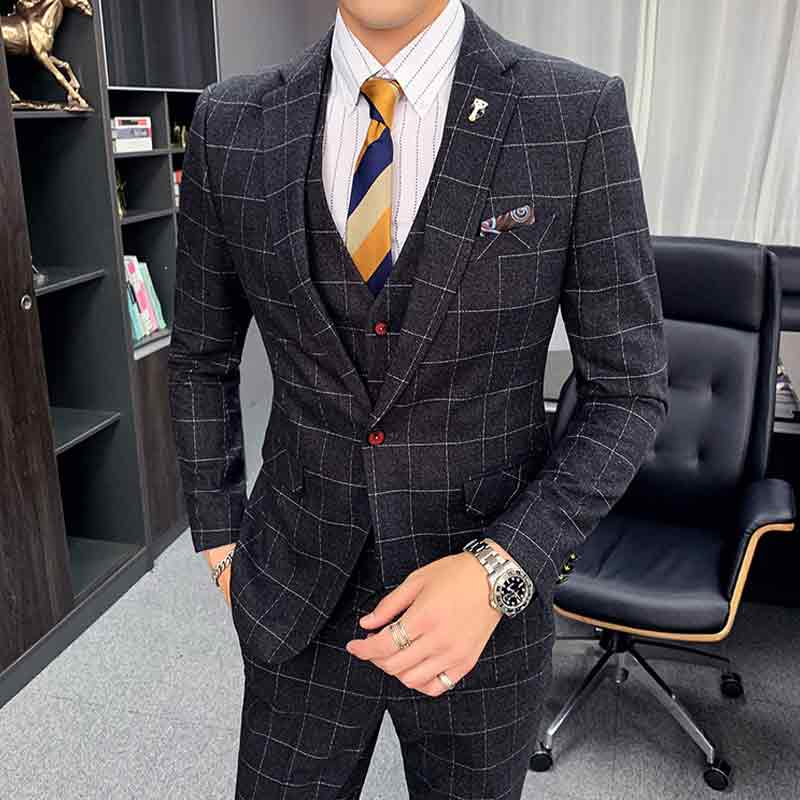 Spring And Autumn Winter New Plaid Suit Three Piece Suit Male British Style Business Chic Classy Suits One Button Suit Jacket