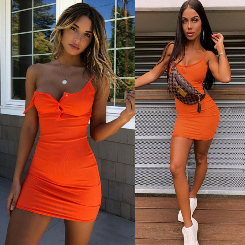 2019 Hot Sale Sexy Dress Womens Fashion Sleeveless Backless Button Bandage Bodycon Party Evening Club Mini Dress ropa mujer