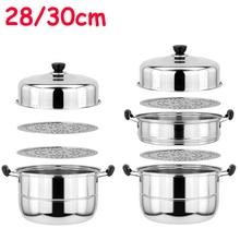 Steamer Pot Multi-function Stainless Steel Steaming Pot Double Boiler Three-layer Steam Pot Light weight 28CM/30CM/32CM hmily красный цвет вина 32cm x 28cm x 17cm