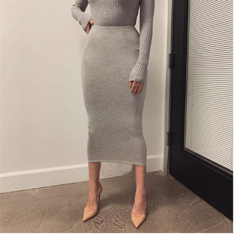 NewAsia Double Layers High Waist Skirts Womens Cotton Long Skirt 2019 Office Ladies Solid Color Slim Fit Sexy Bodycon Midi Skirt