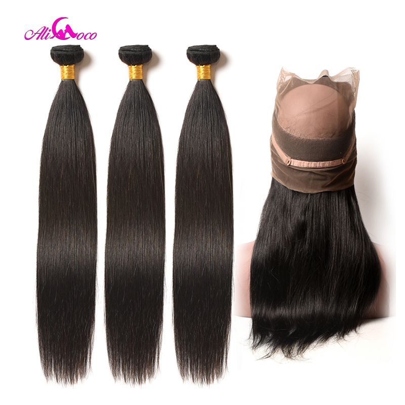Ali Coco Brazilian Straight Hair 360 Lace Frontal Closure With Bundles Human Hair 3 Bundles With Closure Frontal Non Remy Hair