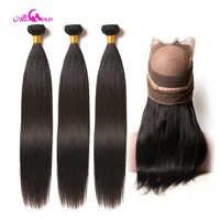 Ali Coco cheveux raides brésiliens 360 dentelle fermeture frontale avec paquets de cheveux humains 3 paquets avec fermeture frontale Non remy cheveux
