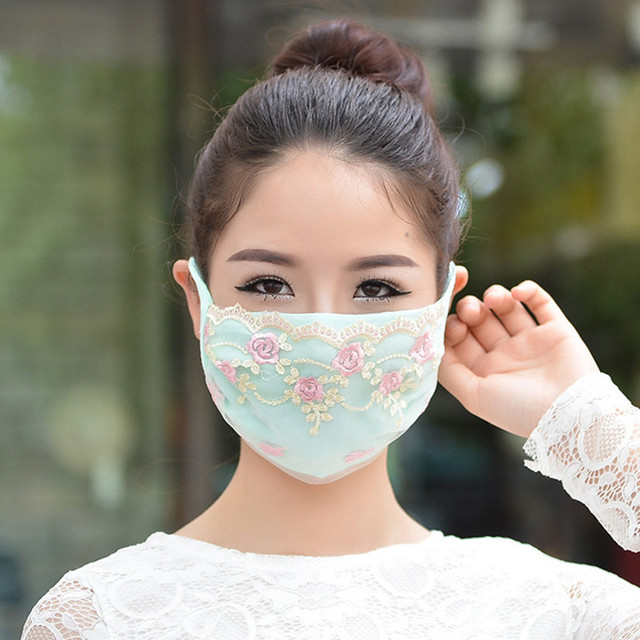 Korean face mask floral Embroidery cotton breathable masks protection dustproof cycling maske for women mondkapjes wasbaar