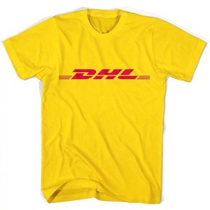 DHL nadrukowane litery T koszula mężczyzna kobiet z krótkim rękawem moda marka bawełna Hipster odzież robocza żółty Tee topy