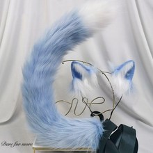 Lolita Hand Made LOL Black Wolf Anime Beast Tail Beast Tail Wolf Ear  Fox Cat Ears Set Hoop Custom COSPLAY Hair Hoop Hairbands