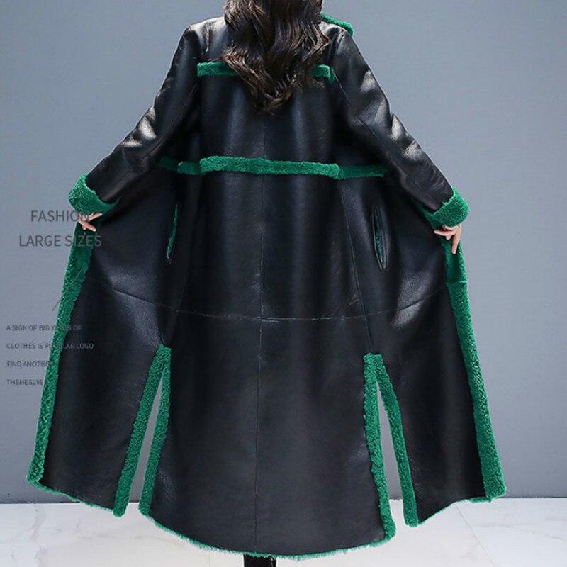 Искусственный 2019 мех в одном пальто из овечьего меха X long пальто женское двухстороннее утепленное пальто плюс размер зимняя куртка Женские топы L012 - 2