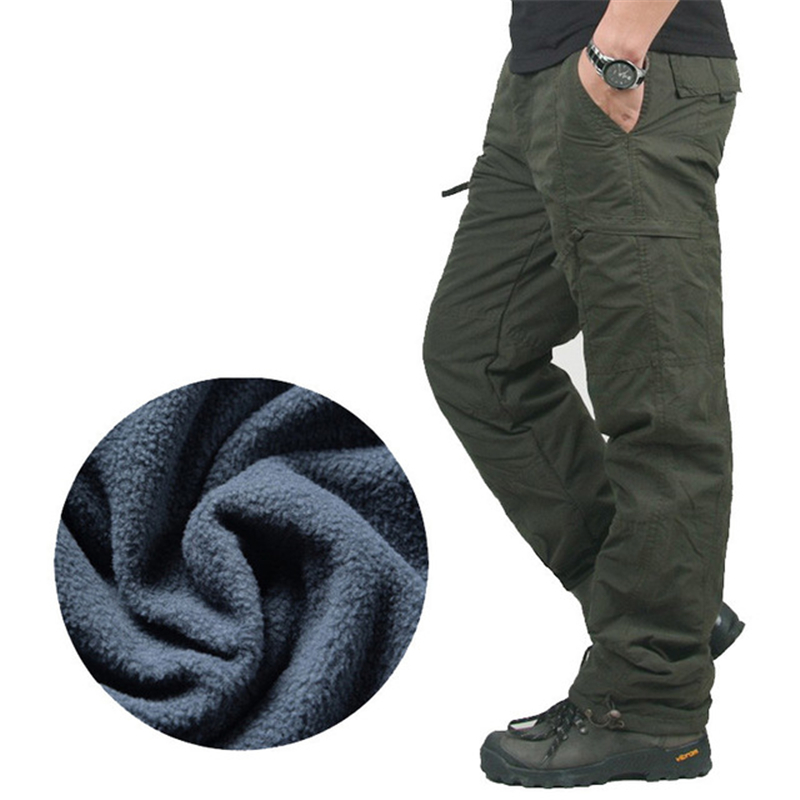 Men Fleece Cargo Pants Winter Double Layer Casual Thick Warm Trousers Overalls Cotton Rip-Stop Military Tactical Baggy Pants