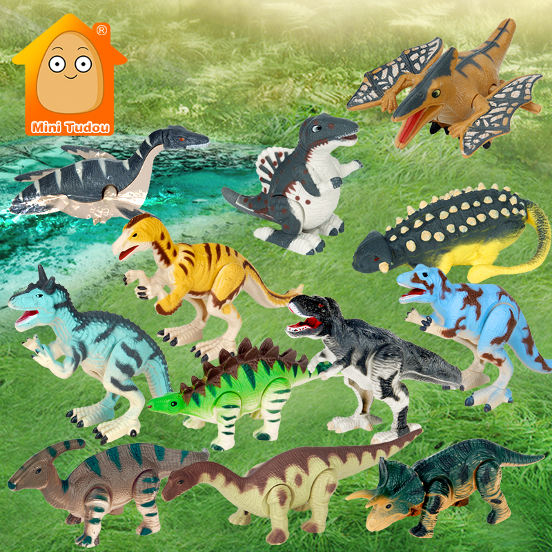 Kids Clockwork Dinosaur Toys Plastic Classic Wind Up Animals Set Play Walking Chain Figure Game Early Educational Toys For Child