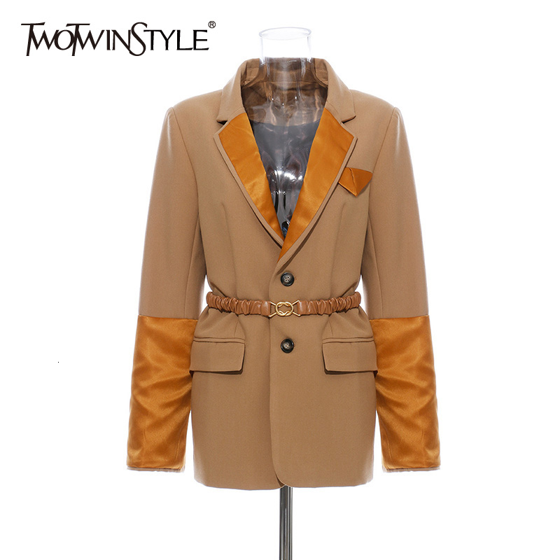 TWOTWINSTYLE Hit Color Patchwork Blazers Female Notched Collar Long Sleeve Tunic With Sashes Autumn Suits For Women Fashion Tide