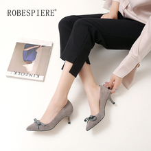 ROBESPIERE Elegant Bowknot Party Weddding Pumps Female Sexy Pointed Toe Genuine Leather Shoes Woman High Heels Office A27