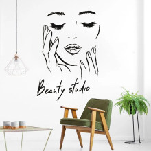 Female Face Vinyl Wall Decal Beauty Studio Door Sticker Cosmetic Makeup Wall Art Stickers Mural Removable Salon Decoration(China)