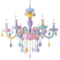 Crystal Chandelier European Princess Macaron LED Chandelier Rainbow Candle Chandelier In The Bedroom Colorful Indoor Lighting