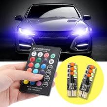 2 pçs 18 smd rgb t10 194 168 w5w led controle remoto carro dome luz de leitura automóveis cunha lâmpada led flash