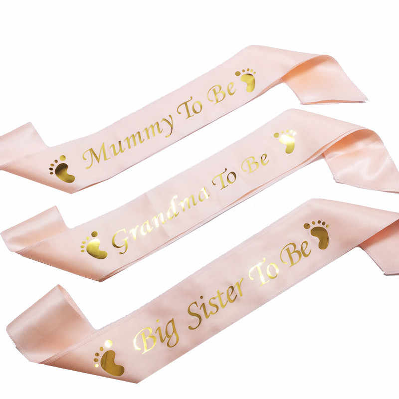 Baby Boy Girl Baby Shower Gender Reveal Party Decorations Favor Gifts Mummy To Be Grandma Big Sister To Be Satin Ribbon Sash