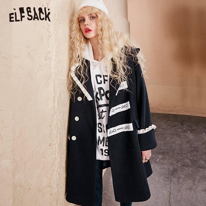 ELFSACK Brief Drucken Frauen Mäntel, 2019 Winter Neue Casual Rosa Süße Rüschen Weibliche Woolen mantel Mode Japanischen Mantel