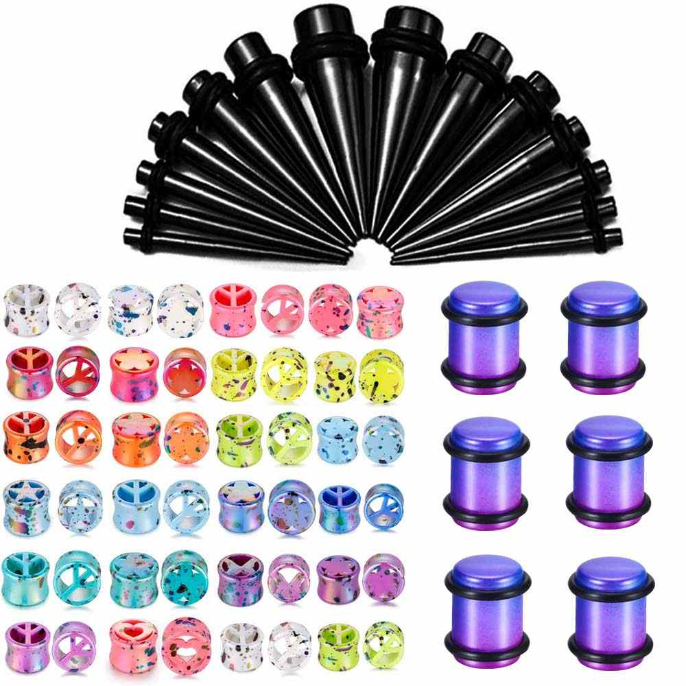 6PCS Rainbow Lot Tunnel Plug Piercing Wholesle Acrylic Spiral Ear Taper Earlets Stretchers Gauge Expander Saddle Plugs Jewelry