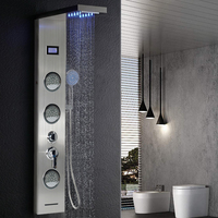 Newly Digital Display Shower Panel Column LED Rain Waterfall Shower Five Function Bathroom Shower Faucet With Hand shower HWC