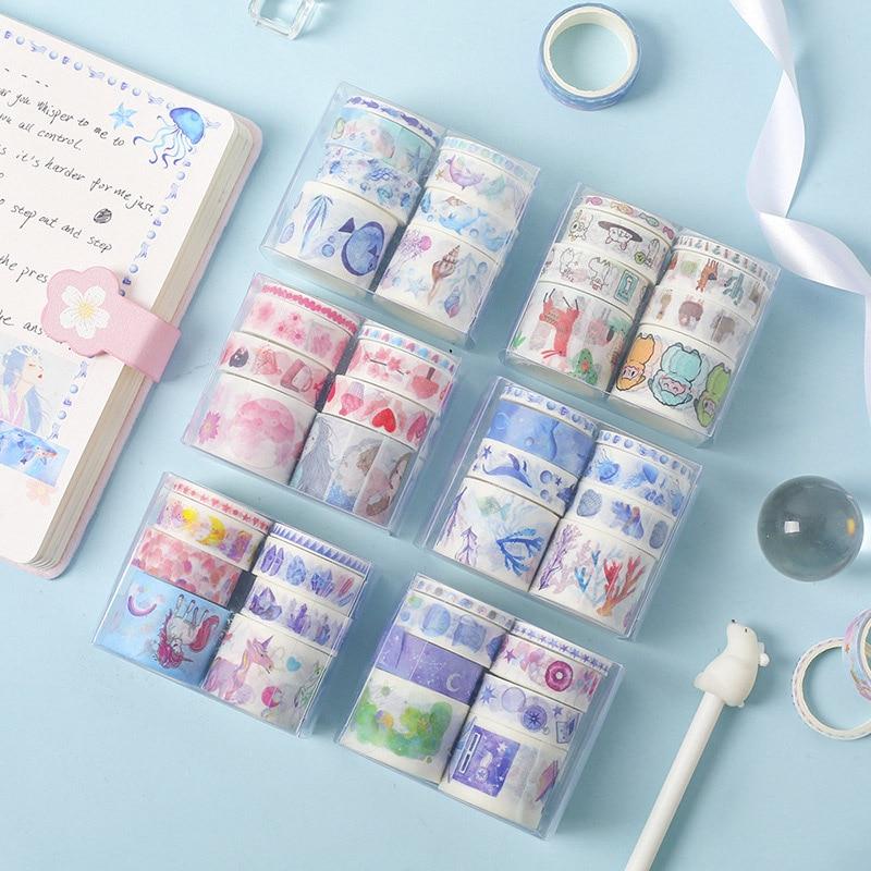 8 Pcs/Set Cute Unicorn Whale Washi Tape Kawaii Masking Tape Decorative Adhesive Tape Sticker Scrapbooking Diary Stationery Tape