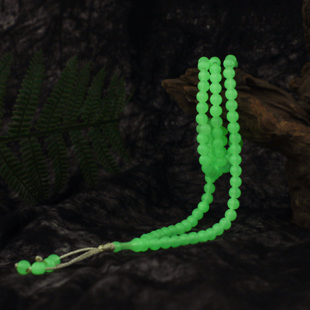 Image 2 - Luminous 8mm Natural Tassel Pendant 99 Prayer Beads Islamic  Muslim Tasbih Allah Mohammed Rosary for Middle East Women MenStrand  Bracelets