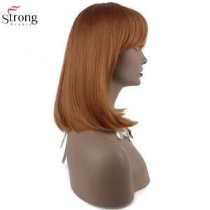 Image 5 - StrongBeauty 女性の合成かつらの髪ブロンド/黒セミロングストレート髪すっきりビッグバンスタイルナチュラかつらキャップレス