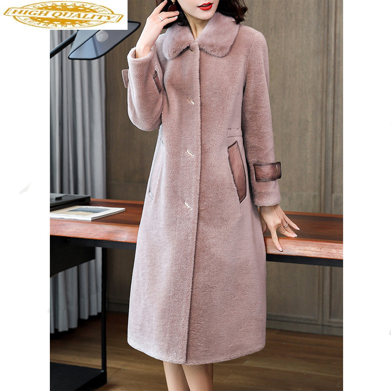 2020 Winter Coat Women Real Fur Coat Female Sheep Shearling Jacket Mink Fur Collar 100% Wool Coats Korean Outwear MY4433