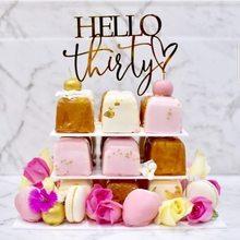 Olá trinta feliz aniversário bolo acrílico topper ouro 30 aniversário acrílico bolo topper para 30th aniversário festa decorações do bolo