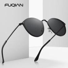 Круглые Солнцезащитные очки fuqian 2020 мужские Модные солнцезащитные