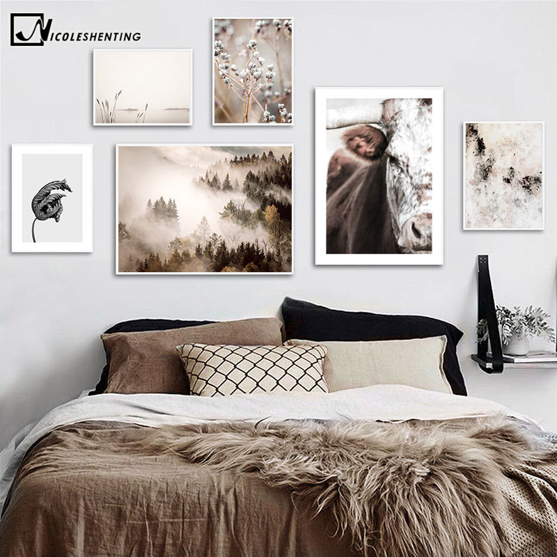 Scandinavian Poster Cow Foggy Mountain Nature Landscape Nordic Wall Art Canvas Print Botanical Painting Home Decoration Picture