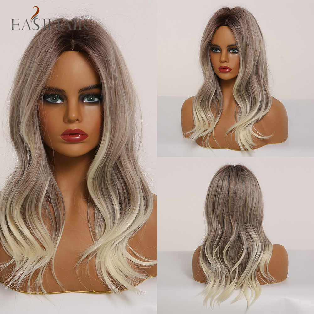 Easihair Medium Length Wavy Ombre Blonde Wigs Natural Synthetic Layered Hair Wigs For Black Women Cosplay Wigs Heat Resistant Synthetic None Lace Wigs Aliexpress