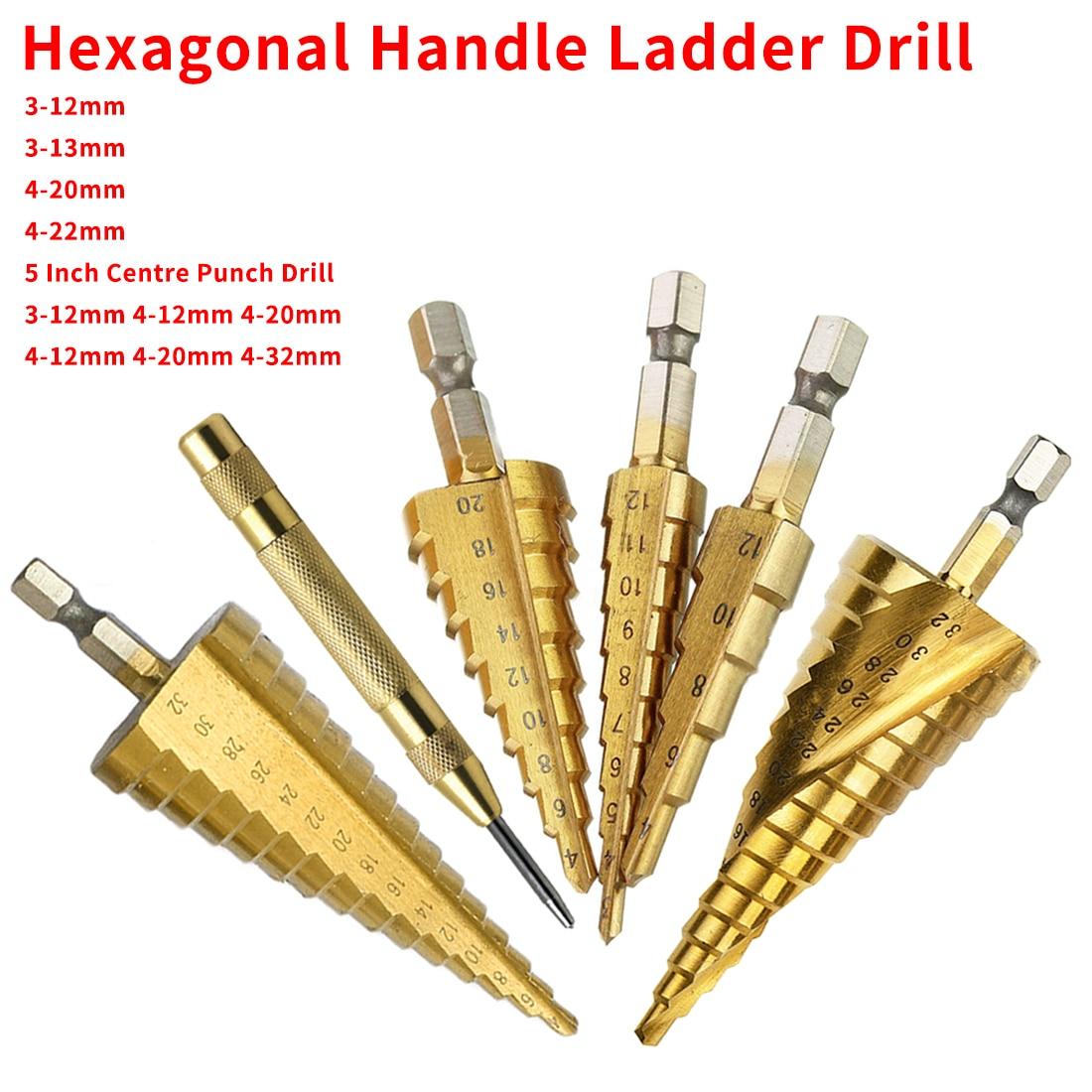 HSS Drill Bits Metal Center Drilling Steel Step Drill Bit Hand Tools Metal Hole Opener 3-12mm/13mm 4-12/20/32mm