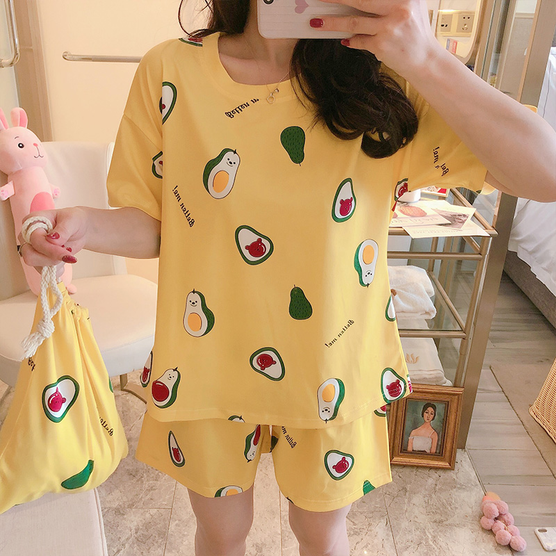 Comfortable Sleepwear For Women Summer Casual Pajamas For Women Short Sleeve Two Pieces Soft Cotton Casual Girls Indoor Wear