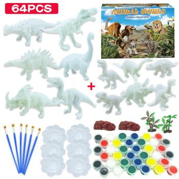 DIY Coloring 3D Painting Animal Dinosaur Model Drawing Graffiti Toy Set Kids Children Non-toxic Paint Arts For Kids Girls Boys