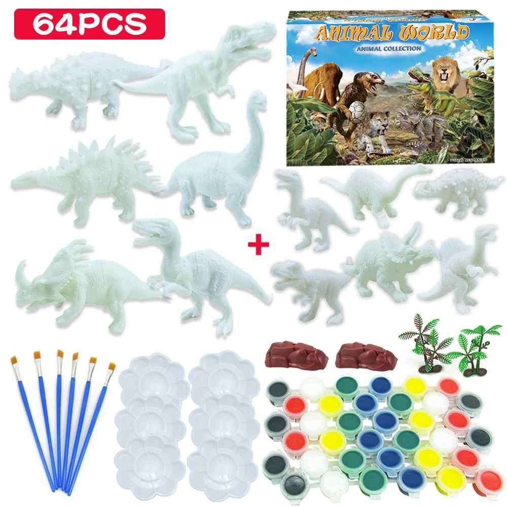 DIY Färbung 3D Malerei Tier Dinosaurier Modell Zeichnung Graffiti Spielzeug Set Kinder Kinder ungiftig Farbe Kunst Für Kinder mädchen Jungen