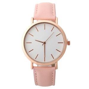 Image 4 - פשוט נשים שעון מזדמן סגסוגת נשים שעונים למעלה מותג יוקרה עור אנלוגי עגול קוורץ שעון יד Relogio שעוני יד